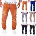 Dos homens NOVOS moda casual rasgado Buraco calças calças da carga dos homens de design duplo decoração cintura macacão calças hip hop longo calças