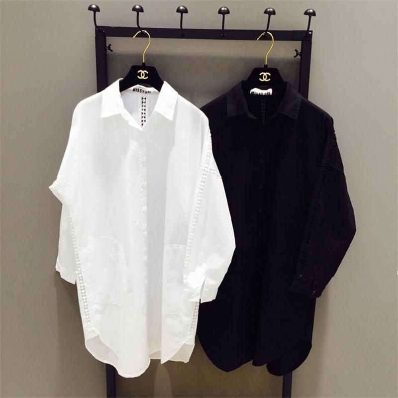 New design high quality woman clothing lady fashion white cotton hollow out loose plus size blouse shirt for 50-100kg femme