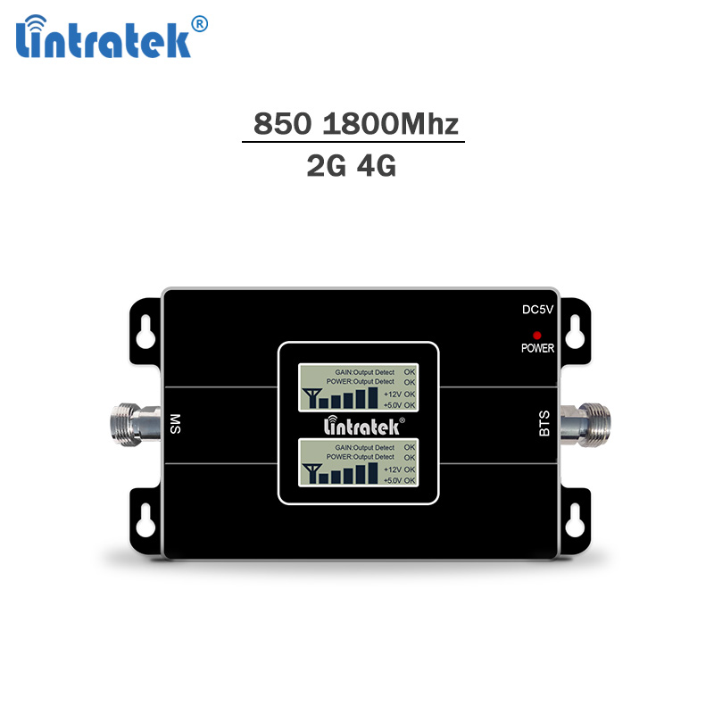 Lintratek celular signal repeater 850 1800Mhz signal booster gsm lte cellphone amplifier 4g 65dBi cdma dcs