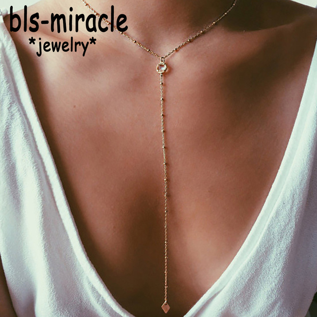 Bls-miracle Bohemian Long Pendant Necklaces For Women Vintage Gold Color Beads C