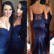 High Quality Sweetheart Mermaid Cheap Formal Party Satin Lace Open Back Bridesmaid Dresses Royal Blue Lace Bridesmaid Dress
