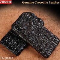 Genuine Crocodile Leather Case For Iphone X 8 7 6S Plus Luxury Handmade Customize Skin Case