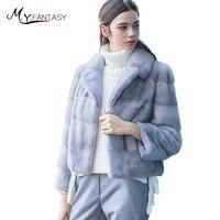 M.Y.FANSTY 2017 Import Swan Velvet Real Natural Mink Fur Coat Women's Causal Turn Down Collar Simple Feel Long Sleeve Mink Coats