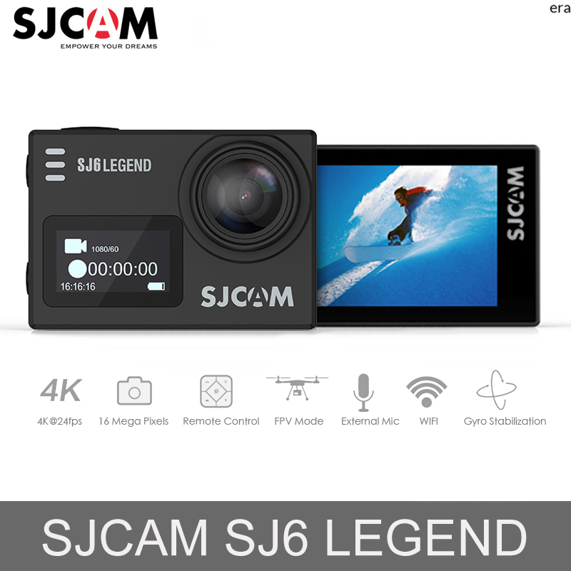 Original SJCAM SJ6 Legend 16MP Action Camera 2.0 Touch Screen Gyro Stabilization Sports Action Camera 4K 24fps HD Car Mini DVR f88 action camera black