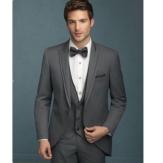 a984b4551cb99 Modne męskie garnitury nowy wykonane na zamówienie ciemny szary garnitury  męskie Slim Fit Groom smokingi kurtka