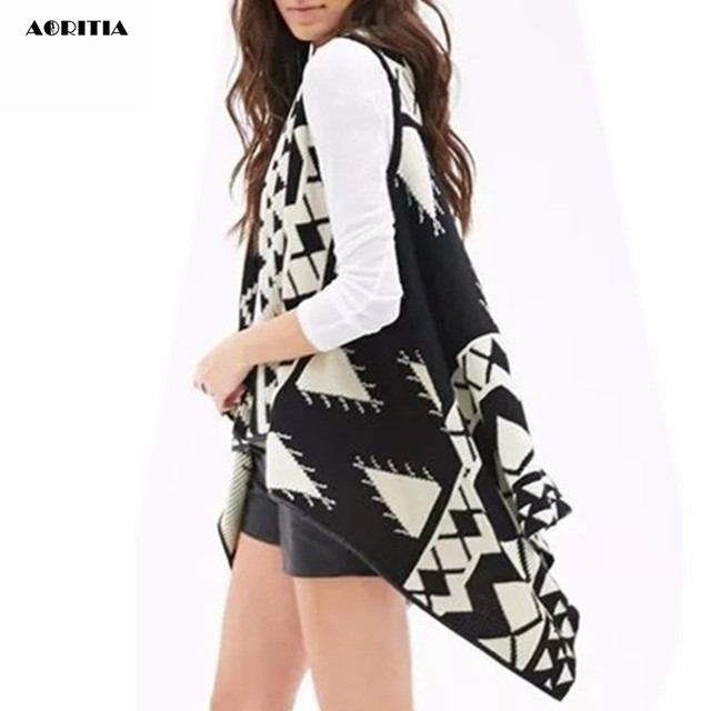 2016 Otoño Patrón Geométrico Mujeres Encogimiento de hombros de Punto Abrigo Suéter Dama Poncho Cardigan Géneros de Punto