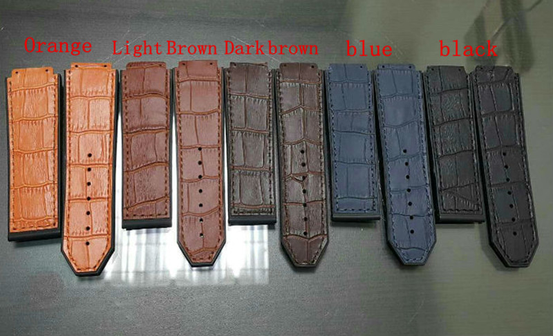 Watch Accessories For Hublot Straps 25MM * 22MM Black / Blue / Orange Leather Rubber Strap For Men