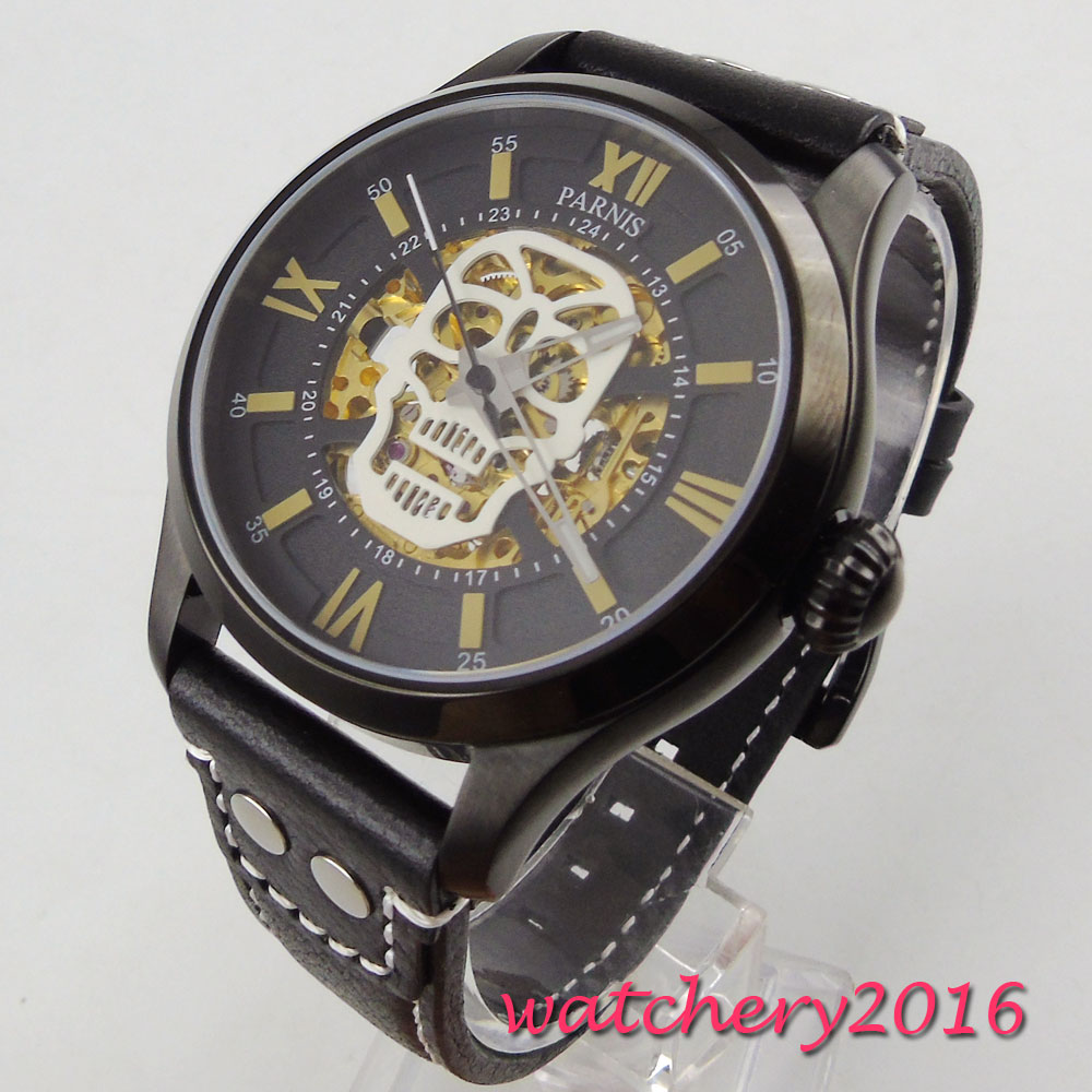 Parnis Mechanical Men's 2017 Fashion Design Skull dial Men Automatic Watch 43mm Sapphire Crystal Black PVD Case Luminous Leather цена и фото