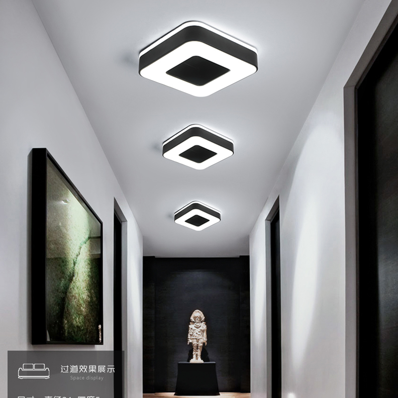 Image 3 - Diameter 240mm Modern LED Ceiling Light For Holly aisle corridor Bedroom Black or White Square/Round/Triangle led Ceiling Lamp-in Ceiling Lights from Lights & Lighting