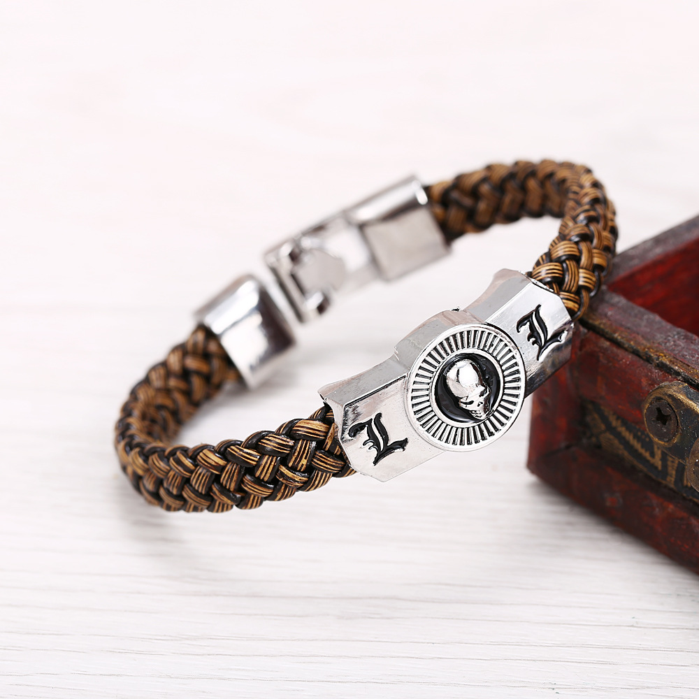 Anime Death Note Bracelet  Men L & Skull couple bracelet Homme Cosplay Accessory Props Gifts