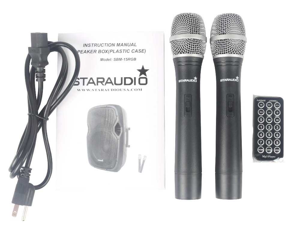STARAUDIO 2Pcs 15 2500W PA DJ Karaoke Stage Active Recharge Battery MP3 USB BT SD Speakers W/2CH VHF Mic 2 Speaker Stands
