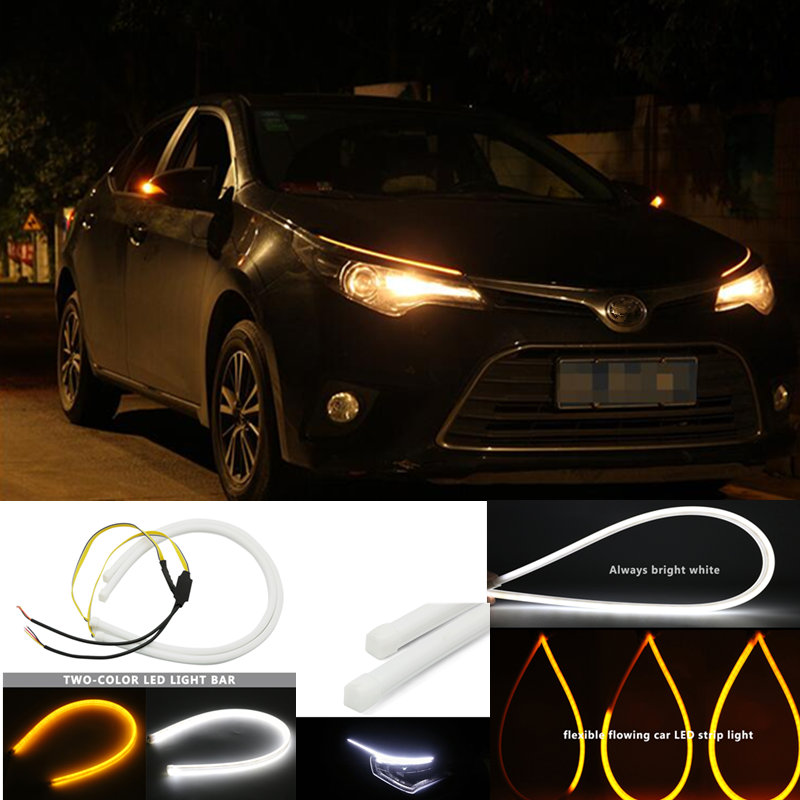 Universial Flowing Daytime Running Light Flexible Soft Tube Guide Car <font><b>LED</b></font> Strip White <font><b>DRL</b></font> and Yellow <font><b>Turn</b></font> <font><b>Signal</b></font> Light For vw image