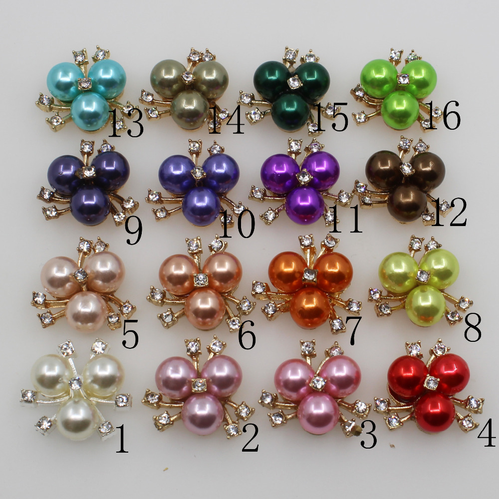 Fashion 10Pc 21MM Gold Round Pearl Button Crafts Clothing Wedding Bride Holding Flowers Decorate Hair Flower Center Scrapbooking
