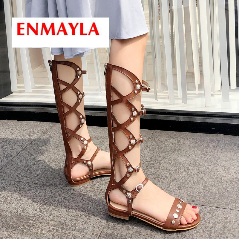 ENMAYLA 2019 New Arrival  PU  Gladiator Sandals Women Summer Fashion  Casual  Zip  Solid  Womens Shoes Size 34-43 LY2216ENMAYLA 2019 New Arrival  PU  Gladiator Sandals Women Summer Fashion  Casual  Zip  Solid  Womens Shoes Size 34-43 LY2216