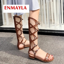 ENMAYLA 2019 New Arrival  PU Gladiator Sandals Women Summer Fashion Casual Zip Solid Womens Shoes Size 34-43 LY2216