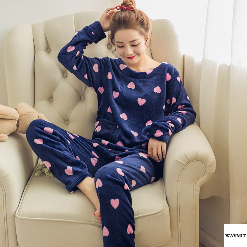 High Quality Winter Women Pyjamas Thicken Flannel Pajama Sets Print Thick Warm Love Pijama Girl Nightgown Sleepwear Long Pant