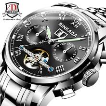 BINKADA  Automatic Full Steel Watch Men Mechanical Watches Multifunction Tourbillon Wrist Watch Luminous Hands reloj hombre