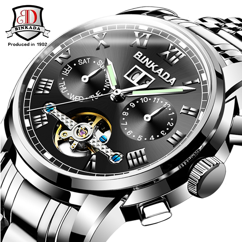 BINKADA automatique entièrement en acier montre hommes montres mécaniques multifonction Tourbillon montre-bracelet mains lumineuses Reloj Hombre