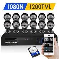 DEFEWAY 1200TVL 720P HD Outdoor CCTV Security Camera System 1080N Home Video Surveillance DVR Kit 2TB