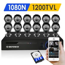 DEFEWAY 12 1200TVL 720 P HD Outdoor CCTV Security Camera System 1080N Home Video Surveillance DVR Kit 2 TB 16 CH 1080 P Hdmi-uitgang(China)