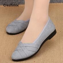 Cresfimix women fashion comfortable cloth flat shoe