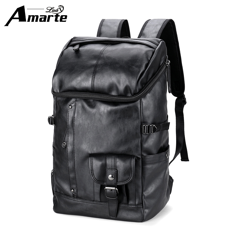 Amarte PU Leather Backpack Large Capacity Man Travel Bags High Quality Trendy Business Bag For Men Leisure Laptop Backpack men messenger bags high quality soft pu leather handbag for men large capacity travel bags business top vintage male crossbody