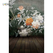 купить Laeacco Old Flowers Painting Wooden Floor Baby Photography Backgrounds Customized Photographic Backdrops For Photo Studio дешево