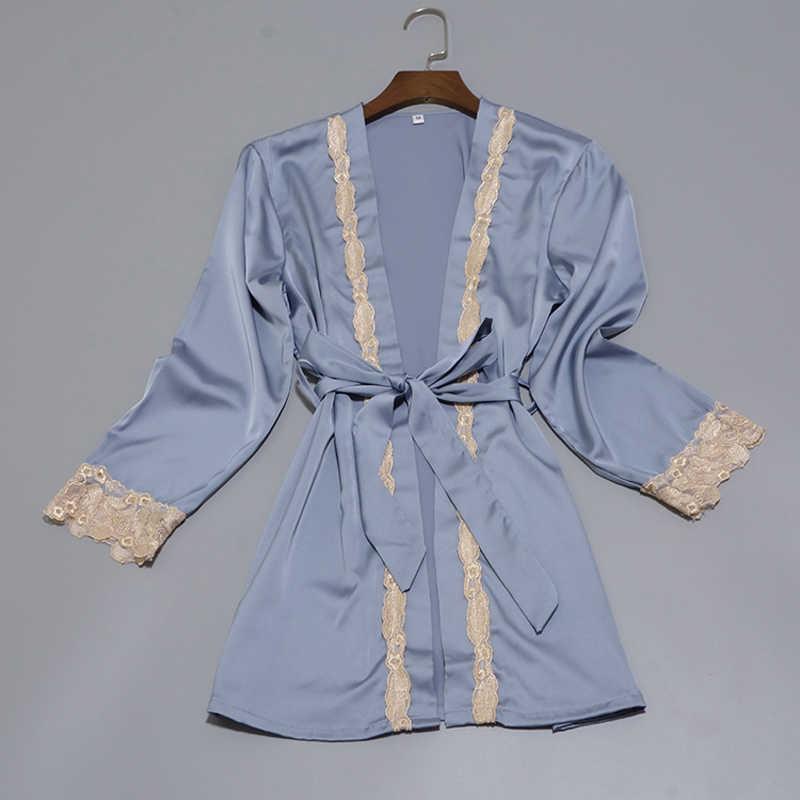 cef45efafc1e ... Women Silk Satin Sleepwear Set New Robe+Slip Top+Pant+Shorts 4 Pieces  ...