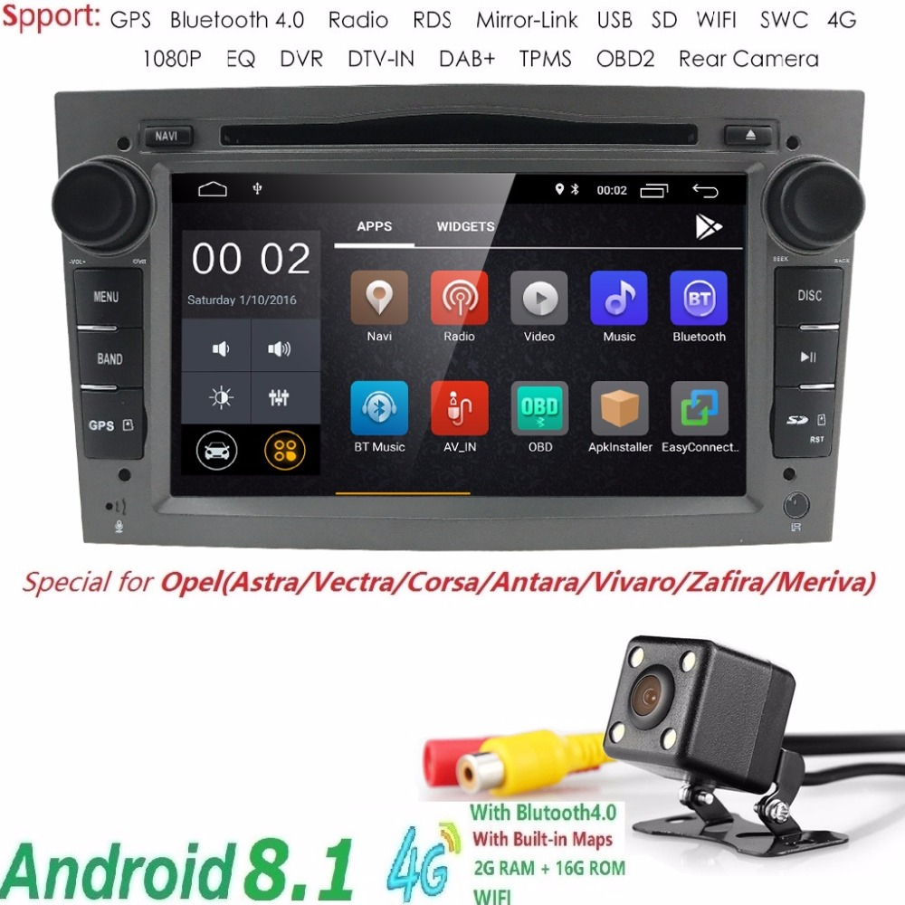 2 din Android8.1 Car DVD Stereo per la Vauxhall Opel Astra H G Vectra Antara Zafira corsa DVD GPS Navi Radio 2 di colore SWC RDS TV CAM