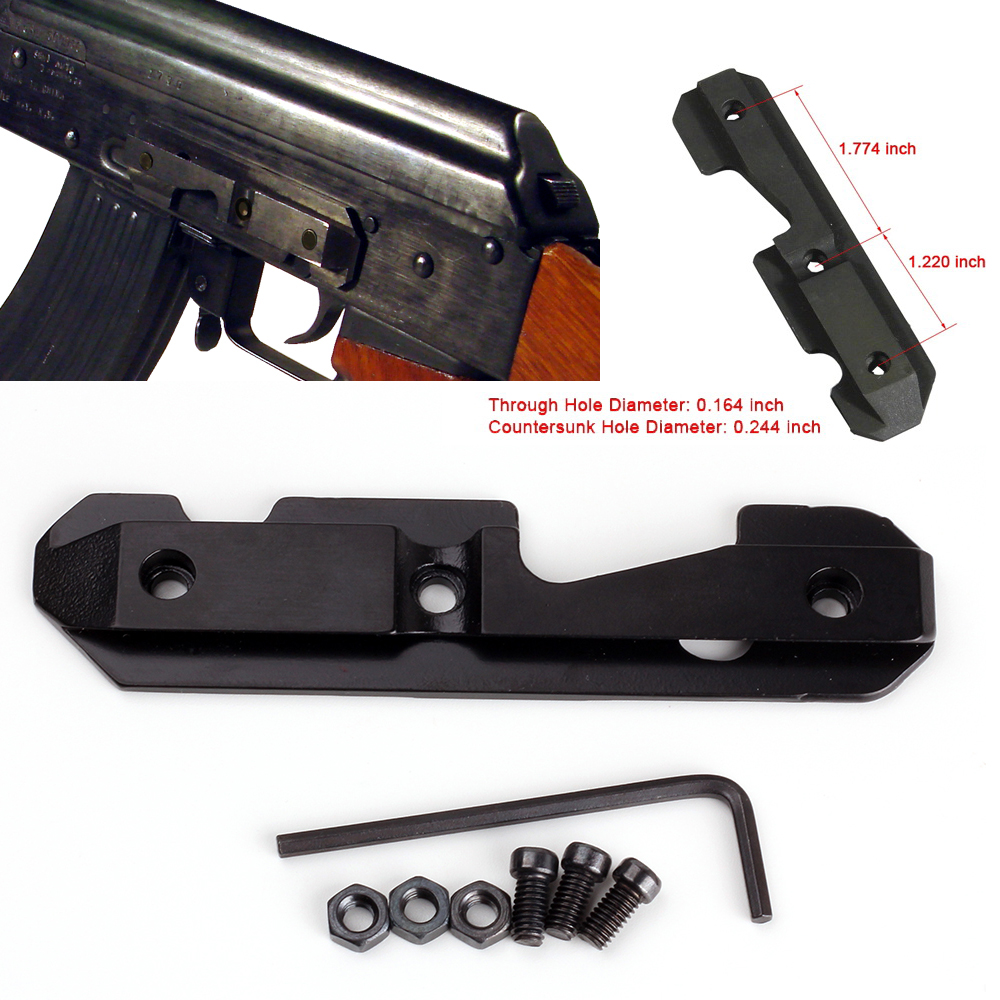 Ohhunt Hunting <font><b>AK47</b></font> Steel Dovetail Side Plate Rail <font><b>Scope</b></font> <font><b>Mount</b></font> Fits Stamped or Milled Receiver wiht Hex Screw and Hex Nut image