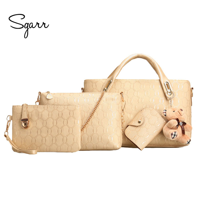 SGARR Brand Black Golden Beige Wine Women Handbag 4- pieces Set Fashion Shoulder Bag Leather Female Clutch Purse Messenger Bags 3pc brush replacement mini kit 6 armed for irobot roomba 500 series free shipping