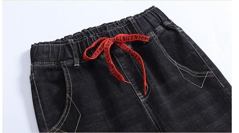 Delgado Vaqueros Mujer Alta Calidad Harem Blanqueado Cintura azul Pantalones Rayado Azul Moda Negro Jeans 6715 Elástica Negro Oqp4R7