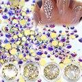 DOCE TENDÊNCIA Nova 120 Pçs/caixa Brilhando 3D Beleza Rhinestions Sparkly Ouro AB Nail Art Decoração de Cristal DIY Ferramentas Unhas NJ245