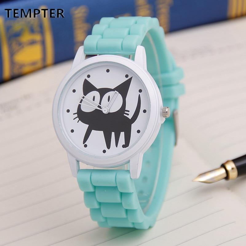Cute Cat Cartoon Quartz hodinky Ženy Silikonové hodinky Cat Pattern - Dámské hodinky