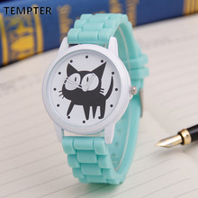 Cute Cat Cartoon Quartz Watch Women Silicone Watches Cat Pattern Watch Women Wristwatches Clock  Relogio Feminino Women Watches