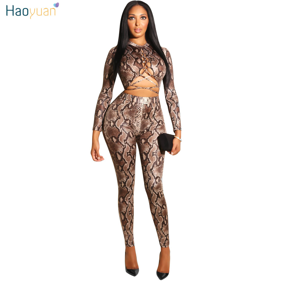 9ce7438a651 Online Shop HAOYUAN Snake Print Sexy Rompers Womens Jumpsuit Casual Overalls  Long Sleeve Full Bodysuit Hollow Out Bodycon Bandage Jumpsuit