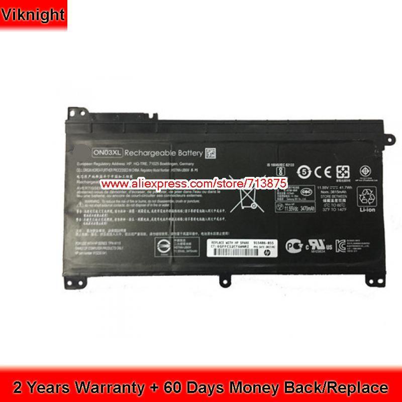 Genuine ON03XL Laptop Battery for HP Pavilion x360 Series HSTNN-UB6W 843537-541 11.55V 42Wh 11 1v 42wh 3760mah pc vp bp93 op 570 77023 laptop battery for nec for lavie z lz650 lz750