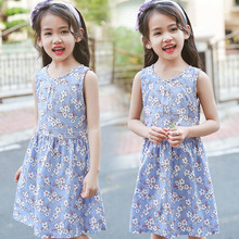 2019 Girls Summer Dress Children Dresses Sleeveless Flower Print Cotton Princess Dresses For Girls 2 4 6 8 10 Years Kids Clothes princess lace dresses for girls long sleeve ruffles dresses infant vestidos children clothes 4 6 8 10 12 years kids formal dress