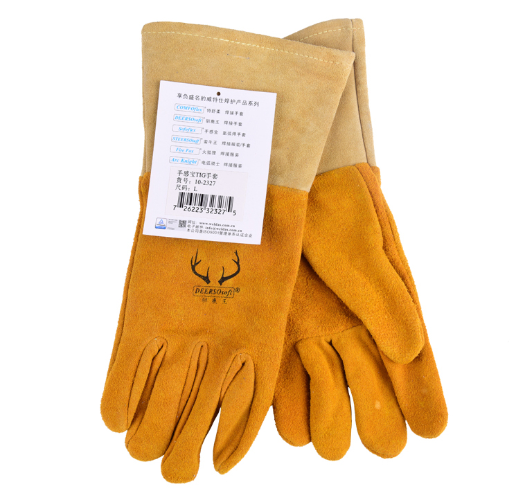 deer leather safety glove Oxygen arc welding gloves quality split deerskin carbon sweat absorbing oil pollution work glove