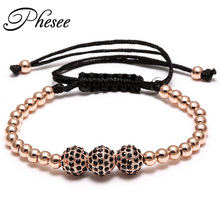 2017 New Fashion Vintage Black 3 Zircon Beads Ball Braiding Macrame Bracelet Punk Men Jewelry Bead Love Bracelets For Women(China)