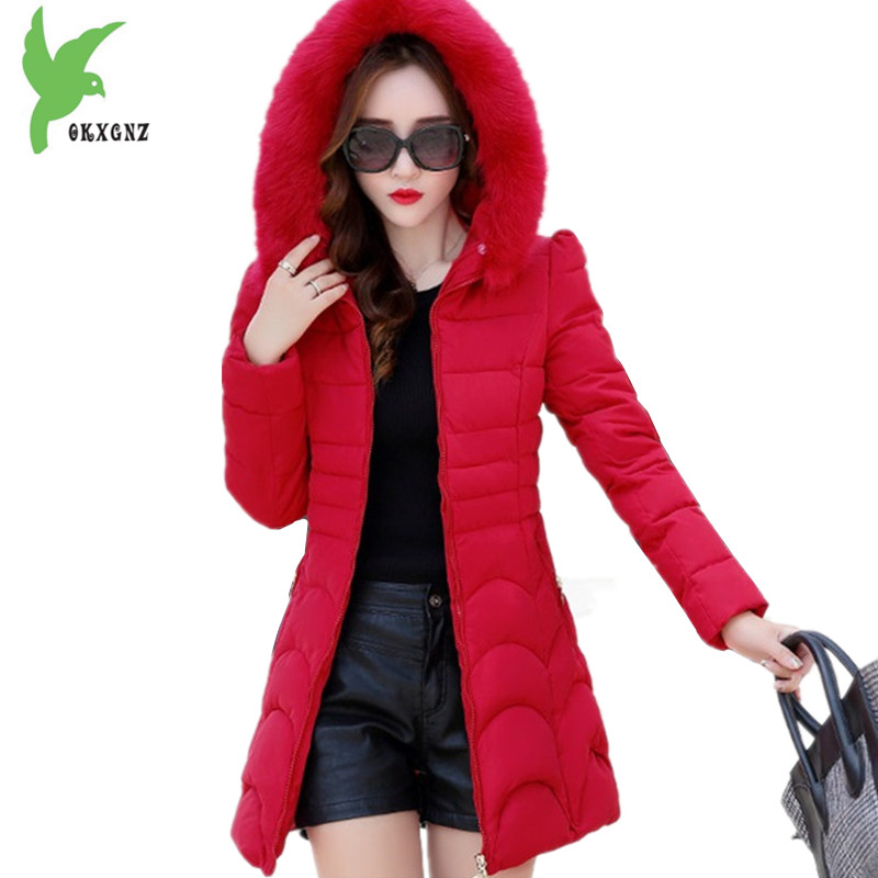 New Winter Women Cotton Down Solid Color Hooded Thick Warm Coats Female Casual Tops Plus Size Slim Long Outerwear OKXGNZ A667 new winter women cotton jackets solid color hooded long coat plus size fur collar thicker warm slim casual outerwear okxgnz a795