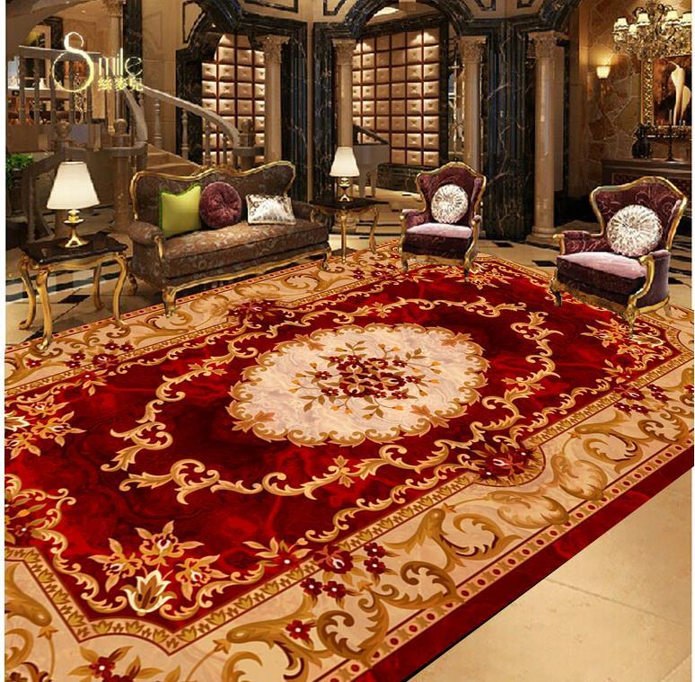 3D wallpaper floor for living room Custom Photo self-adhesive 3D floor  marble Waterproof floor mural painting