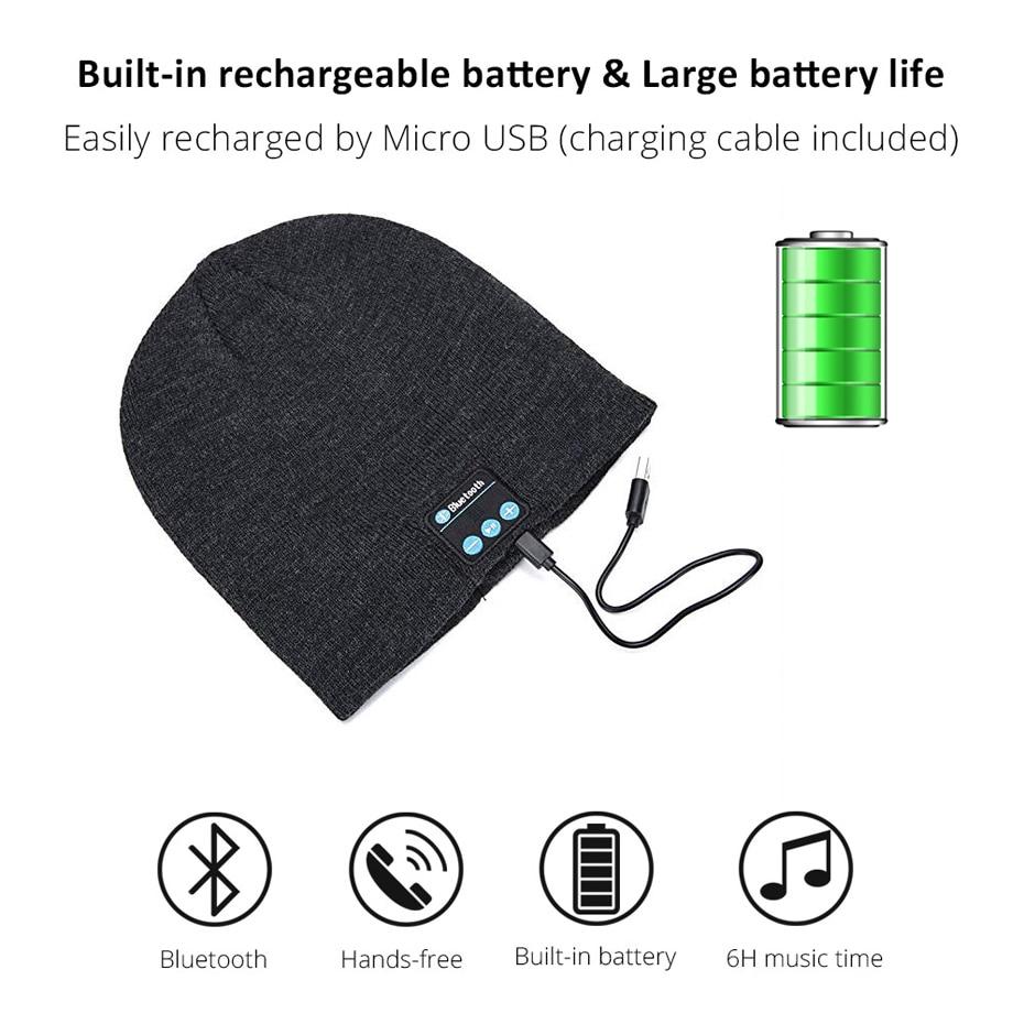 b7b3f36b7ab Bluetooth Earphone Music Hat Winter Wireless Headphone Cap Headset ...