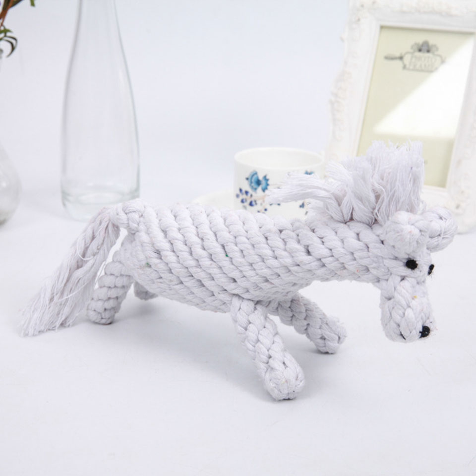 Petcircle Pet Dog Toys for Small Dog Knot Linen Rope Braided Horse Animal Shape Puppy Chew Toy Cleaning Tooth Pet Products