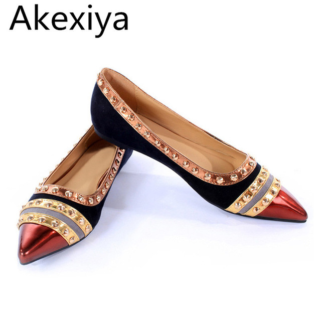 Akexiya Rivets Decoration Brand Shoes Flats Women Spring Autumn Fashion  Womens Flats Boat Shoes Sexy Ladies Plus Size 11 a6a999bb54f7