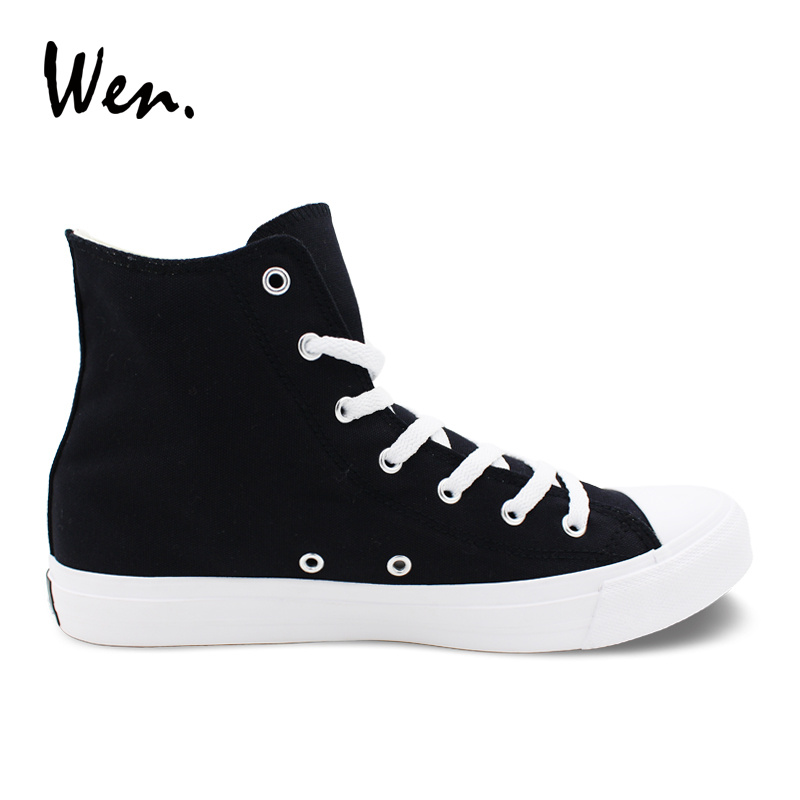 Wen classique noir chaussures étoiles rayures tongs chapeau lunettes de soleil toile baskets femmes haut hommes chaussures vulcanisées Plimsolls - 4