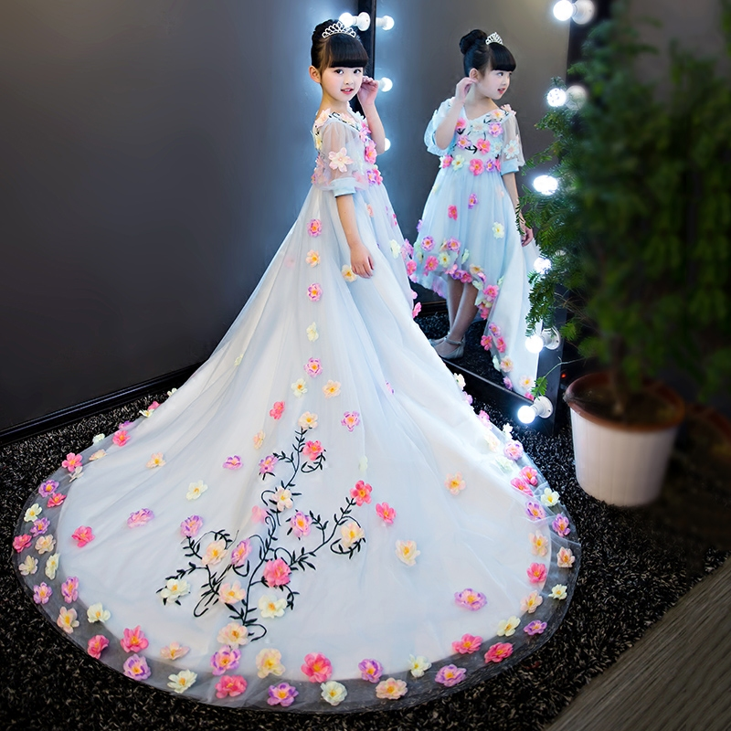 2017 New Luxury Korean 3d Flowers Decoration Girls Children Princess Dress With Long Tails Kids Birthday Wedding Long Dress korean children girls wedding long sleeved kids princess dress kids clothing bow pink