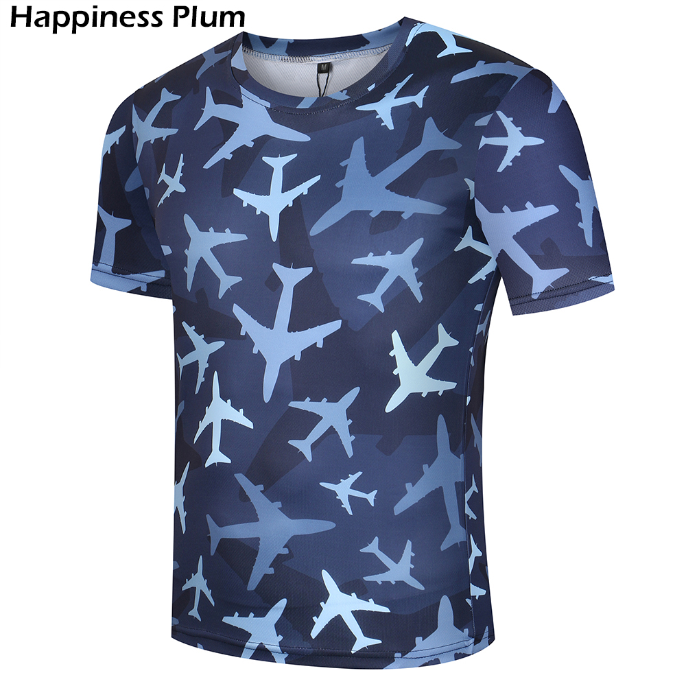 Aircraft T-shirt Camouflage Shirts Army T Shirt Men Fitness Funny 3d 2017 Summer Tops Tees Anime Clothes Short Sleeves Lycra