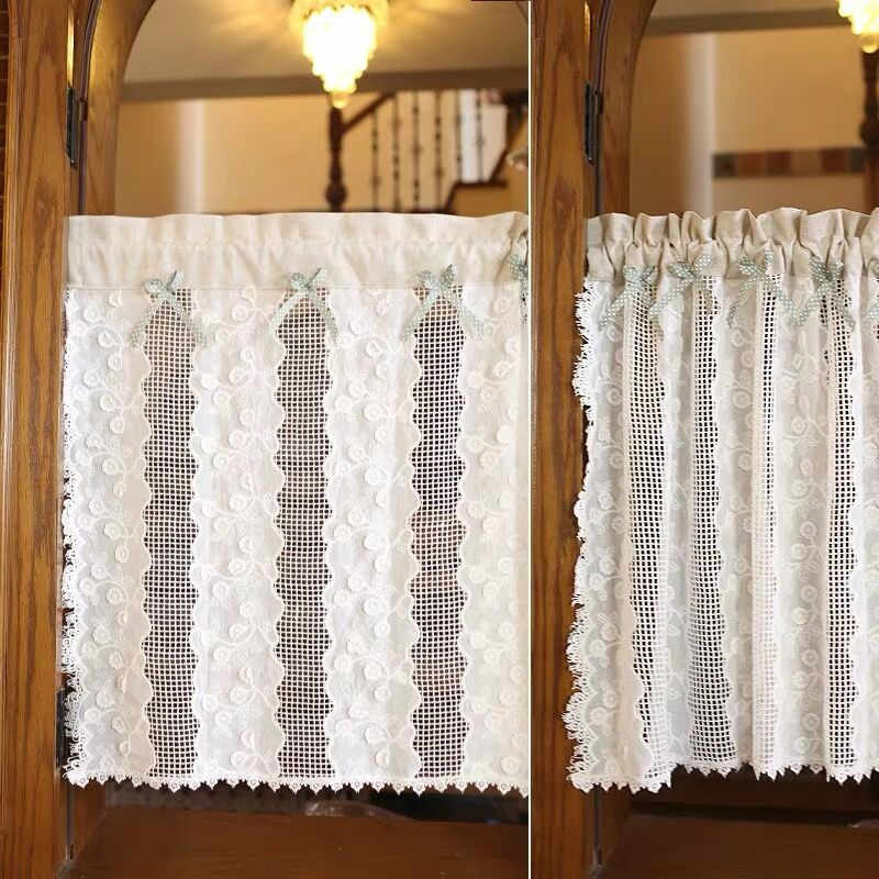 XYZLS Short Curtain For Kitchen Door Half Curtains American Style White Lace Hollow-Out Thin Curtain