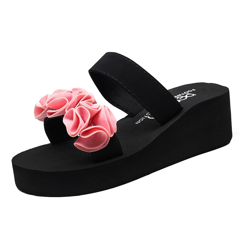 Fashion Women Slip-on Open Toe Wedges Heels Black Color Flower Slipper Shoes Thick-Soled Wear-Resistant Slipper for travel Mar 9Fashion Women Slip-on Open Toe Wedges Heels Black Color Flower Slipper Shoes Thick-Soled Wear-Resistant Slipper for travel Mar 9